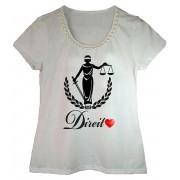 Camiseta adulta feminina bordada estampa direito
