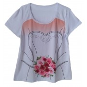 Camiseta adulta feminina chá bar noiva buquê