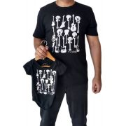 Camiseta adulta masculina e body de bebê guitarras