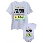 Camiseta Melhor Papai Do Mundo E Body De Bebê Unissex