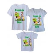 Kit 3 Camisetas Pai, Mãe e Filho Aniversário Safari Personalizados