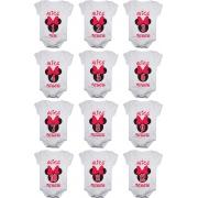 Kit Body Bebê Mesversario Manga Curta Cabeça Minnie 12 Bodies 1 a 12 Meses