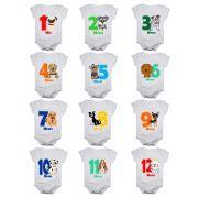 Kit body bebê mesversario manga curta estampa cachorrinhos 12 bodies 1 a 12 meses