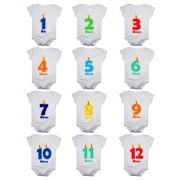 Kit body bebê mesversario manga curta números vela 12 bodies 1 a 12 meses