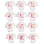 Kit body bebê mesversario manga longa estampa ursinha princesa 12 bodies 1 a 12 meses