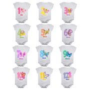 Kit body de bebê mesversario manga curta estampa borboletas 12 bodies 1 a 12 meses