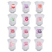 Kit body de bebê mesversario manga curta estampa corujinhas 12 bodies 1 a 12 meses
