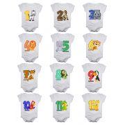 Kit body de bebê mesversario manga curta estampa safari colorido 12 bodies 1 a 12 meses