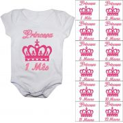 Kit body mesversario coroa princesa 12 bodies