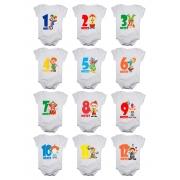 Kit body mesversario manga curta palhacinhos circo 12 bodies de bebê