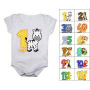 Kit body mesversario safari colorido 12 bodies de bebê