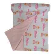 Manta de Bebê Personalizada Nome Cobertor Dupla Face Forrado