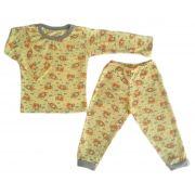 Pijama infantil manga longa estampa ursinho avião