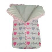 Saco de dormir para bebê personalizado estampa corações laços