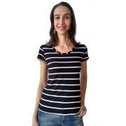 T-shirt blusa adulta feminina listrada