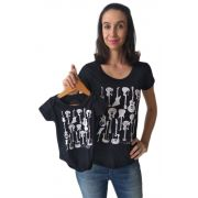 T-shirt camiseta adulta feminina e body de bebê guitarras