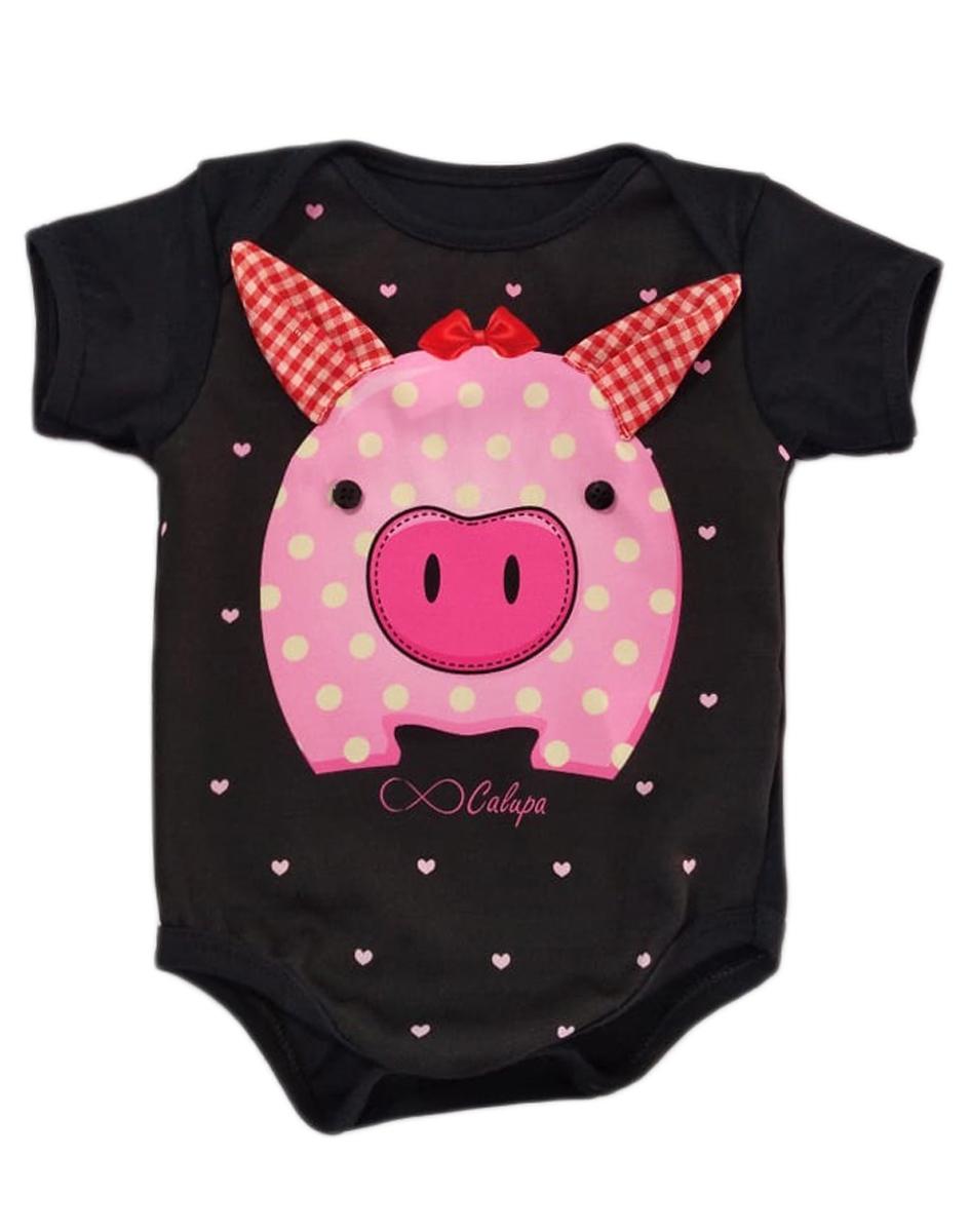 Body Bebê Estampa Porquinha