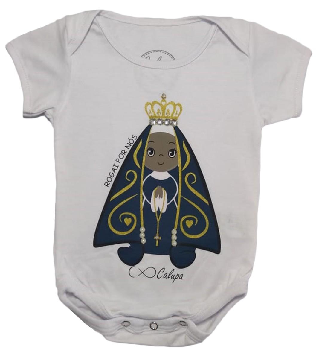 Body Bebê Manga Curta Nossa Senhora Aparecida
