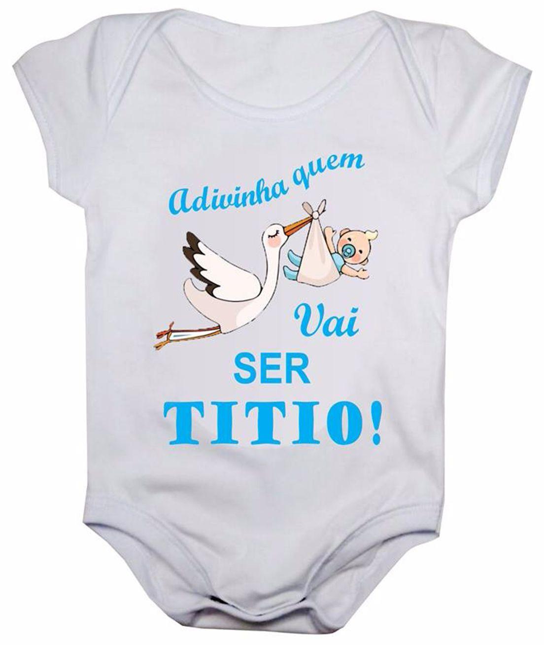 Body de bebê manga curta estampa adivinha quem vai ser titio
