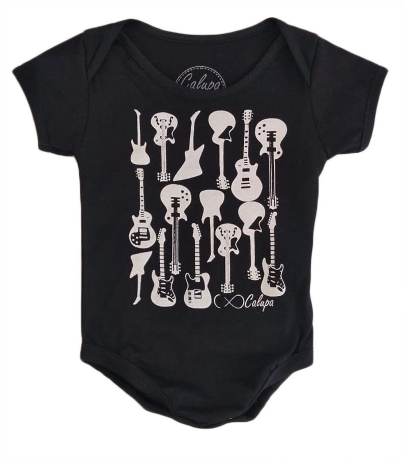 Body de bebê manga curta estampa guitarras
