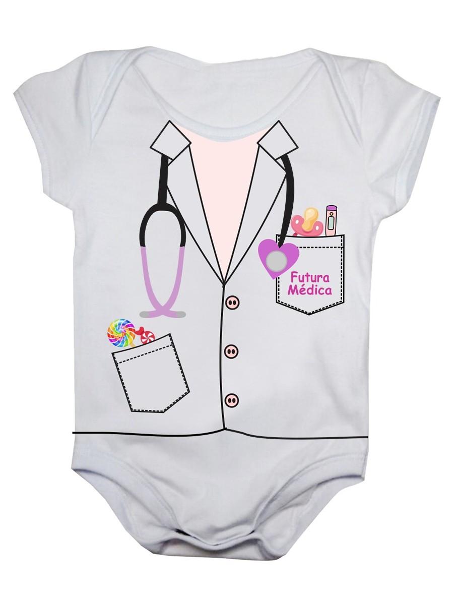 Body De Bebê Manga Curta Estampa Futura Médica
