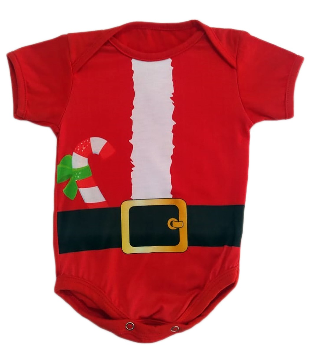 Body de bebê manga curta estampa natal