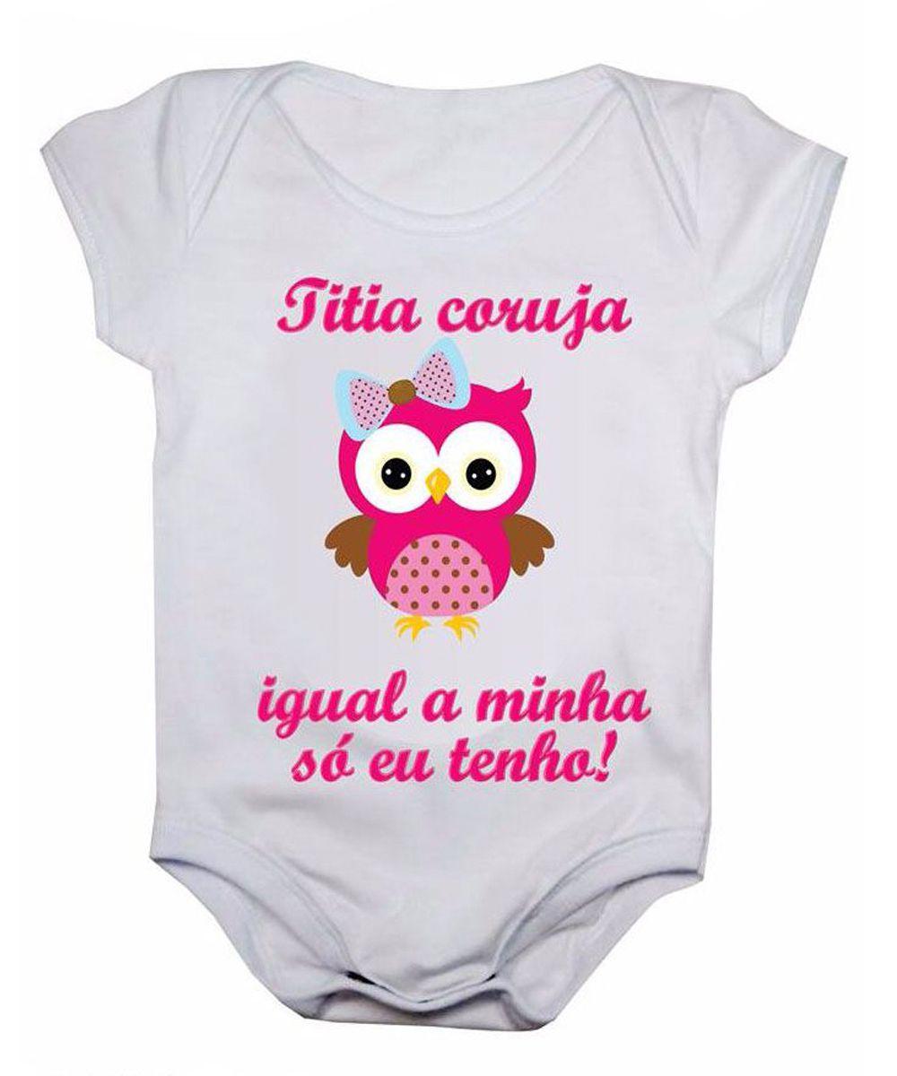 Body de bebê manga curta estampa titia coruja