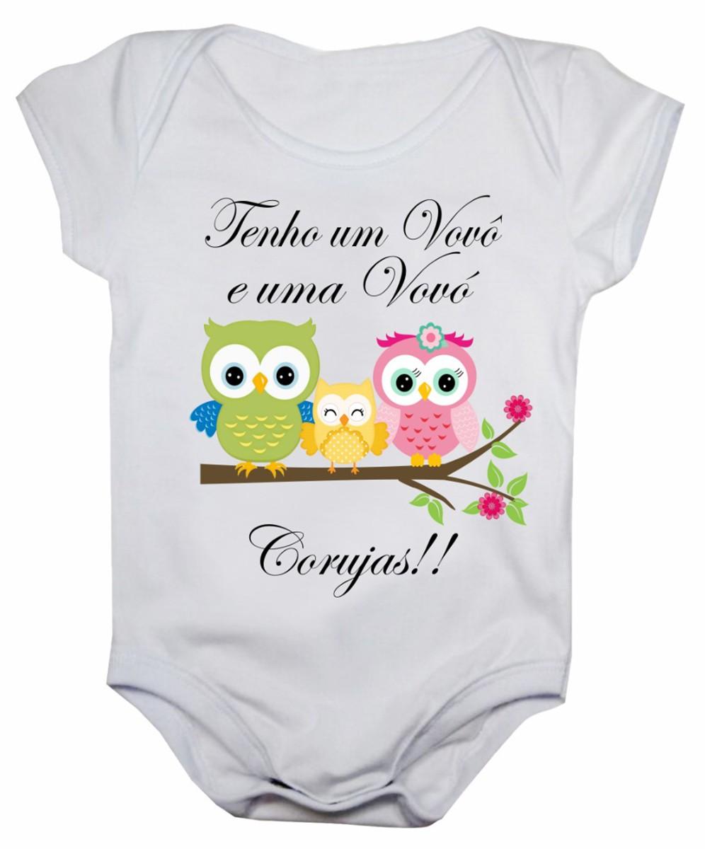Body de bebê manga curta estampa vovô e vovó corujas