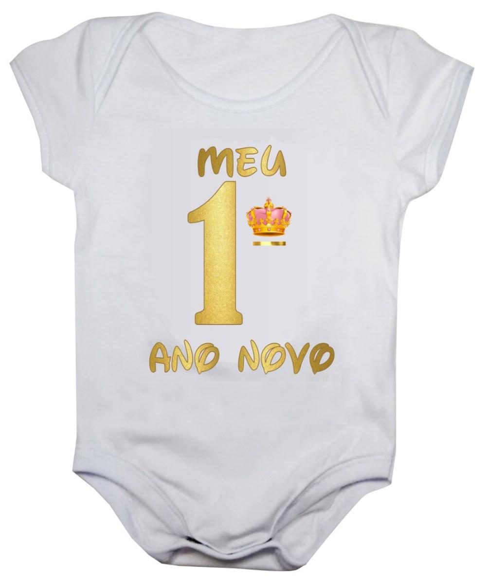 Body de bebê manga curta meu primeiro ano novo coroa