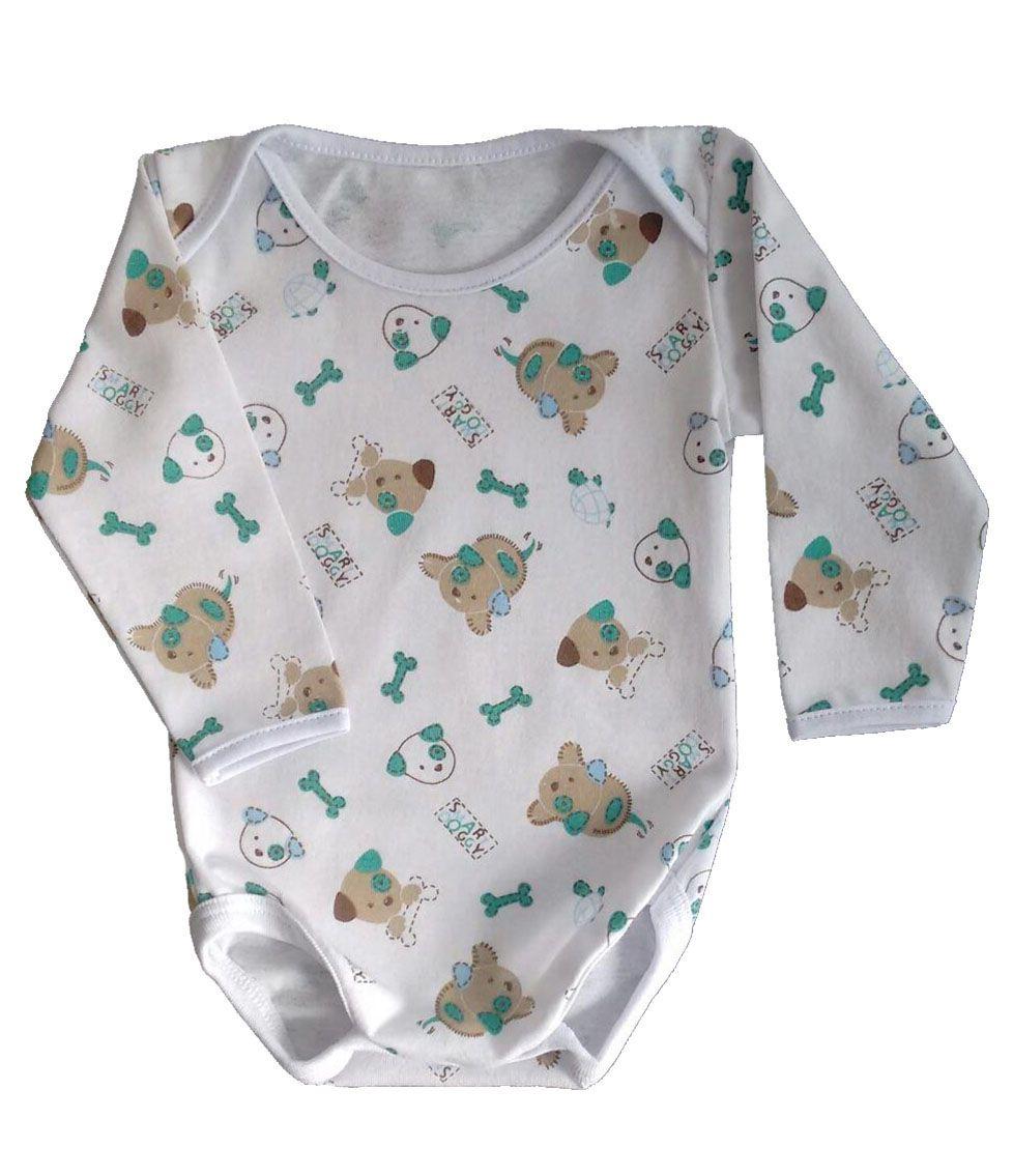 Body de bebê manga longa de algodão estampado