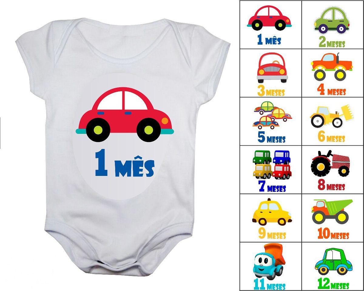 Body de bebê mesversario carrinhos - Kit 12 bodies