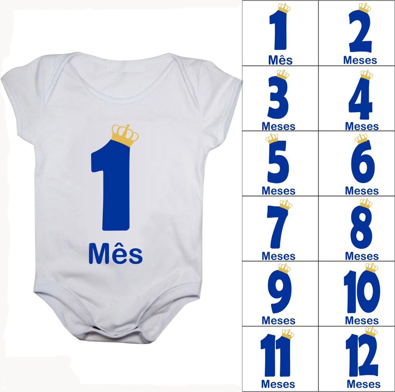 Body de bebê mesversario números menino
