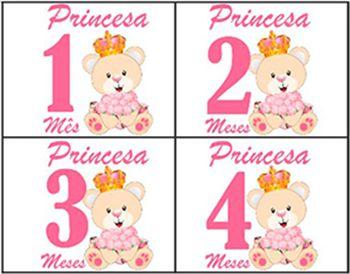 Body de bebê mesversario ursinha princesa - Kit 12 bodies