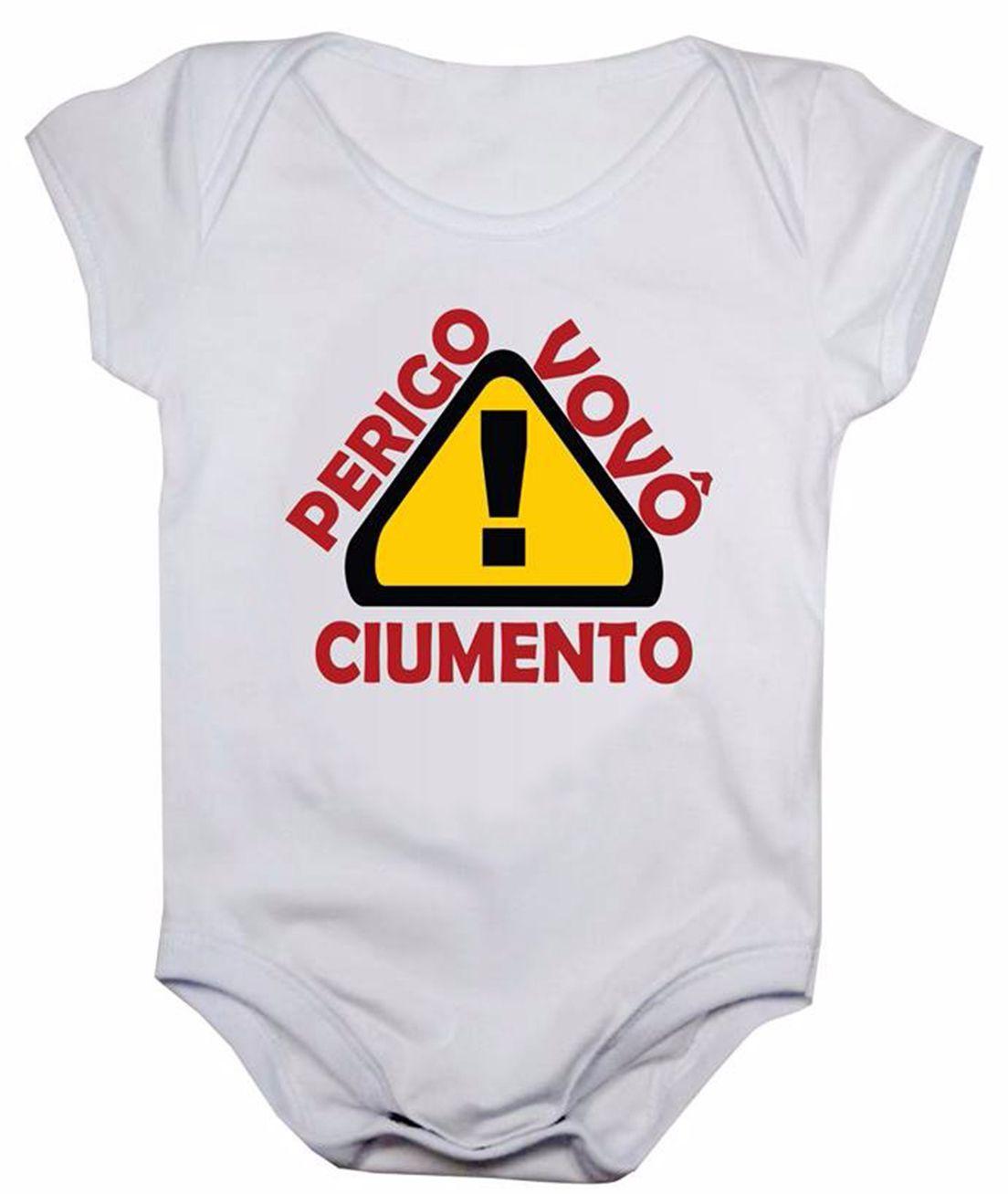 Body de bebê manga curta estampa perigo vovô ciumento