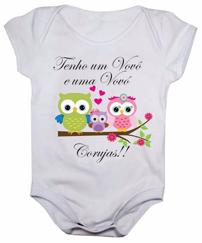 Body de bebê vovô e vovó corujas