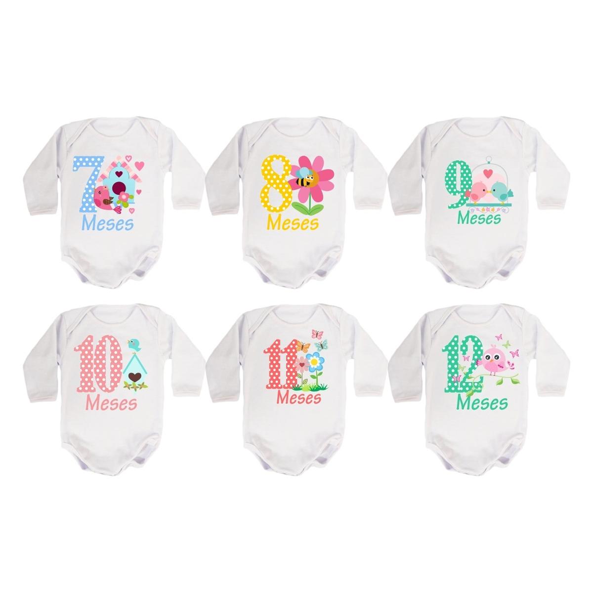 Body Mesversario Manga Longa Jardim Encantado Kit 12 bodies de Bebê