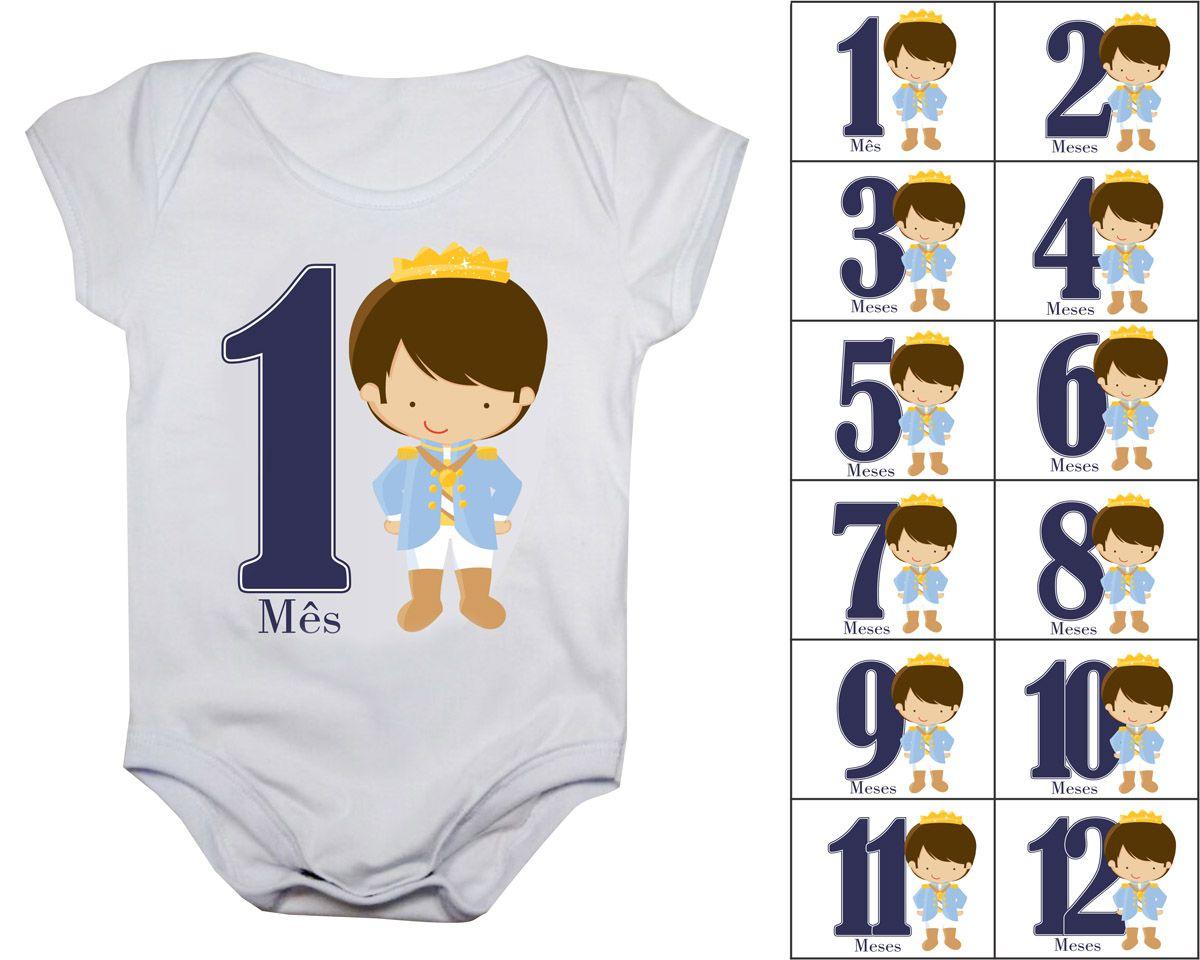 Body mesversario príncipe kit com 12 bodies