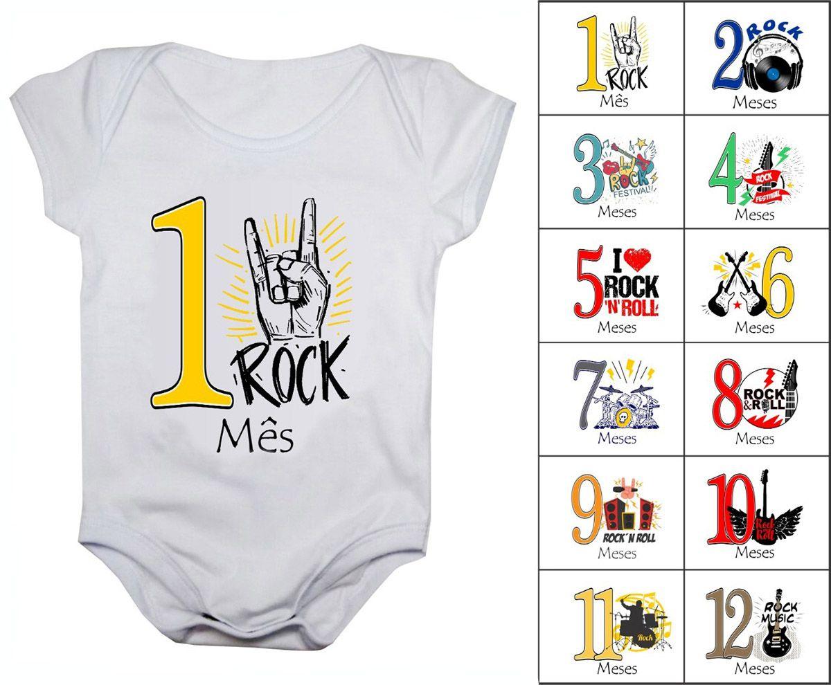 Body mesversario Rock In Roll 12 bodies de bebê de 1 a 12 meses