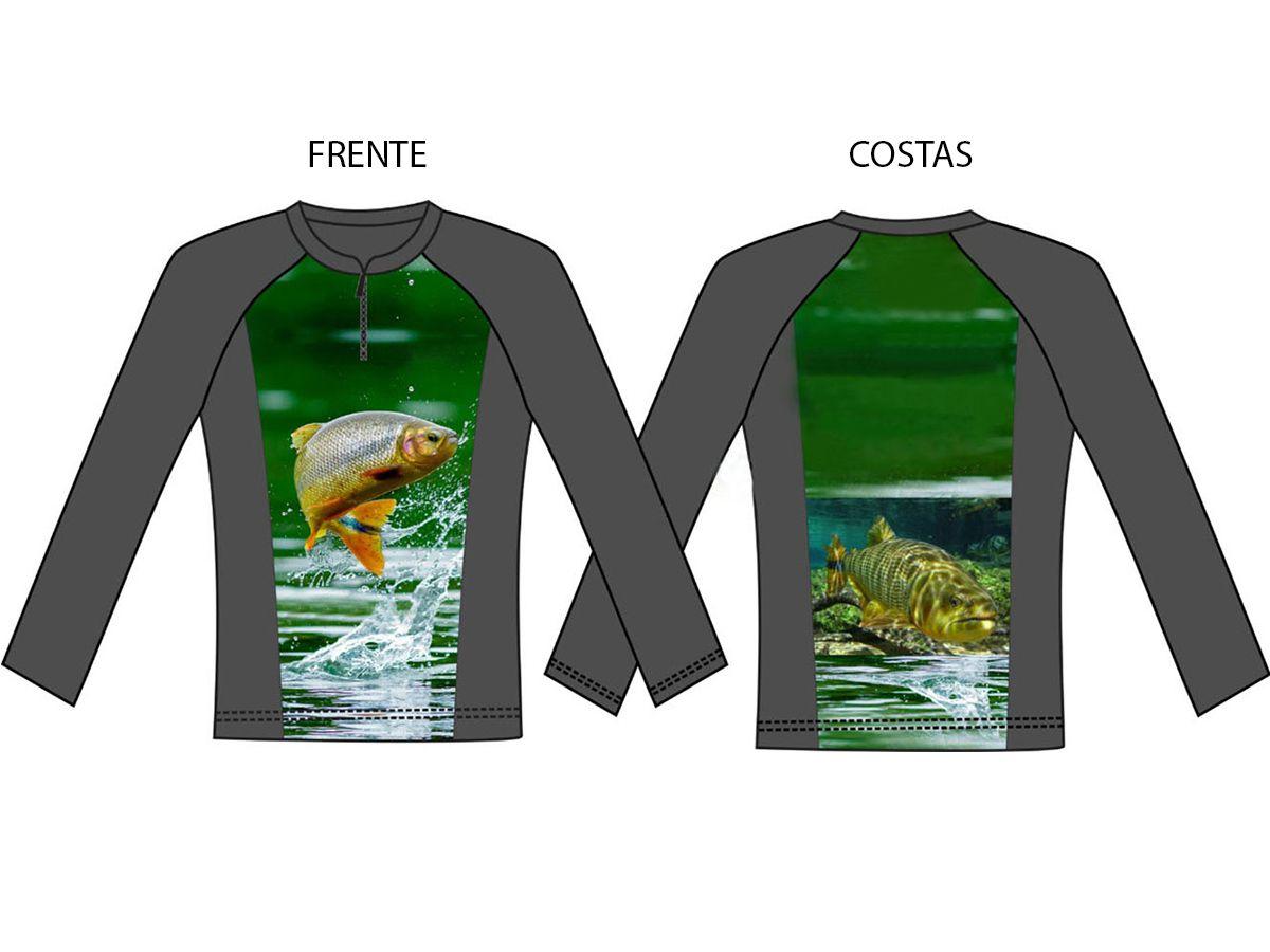 Camisa de pesca manga longa com proteção solar Uv50