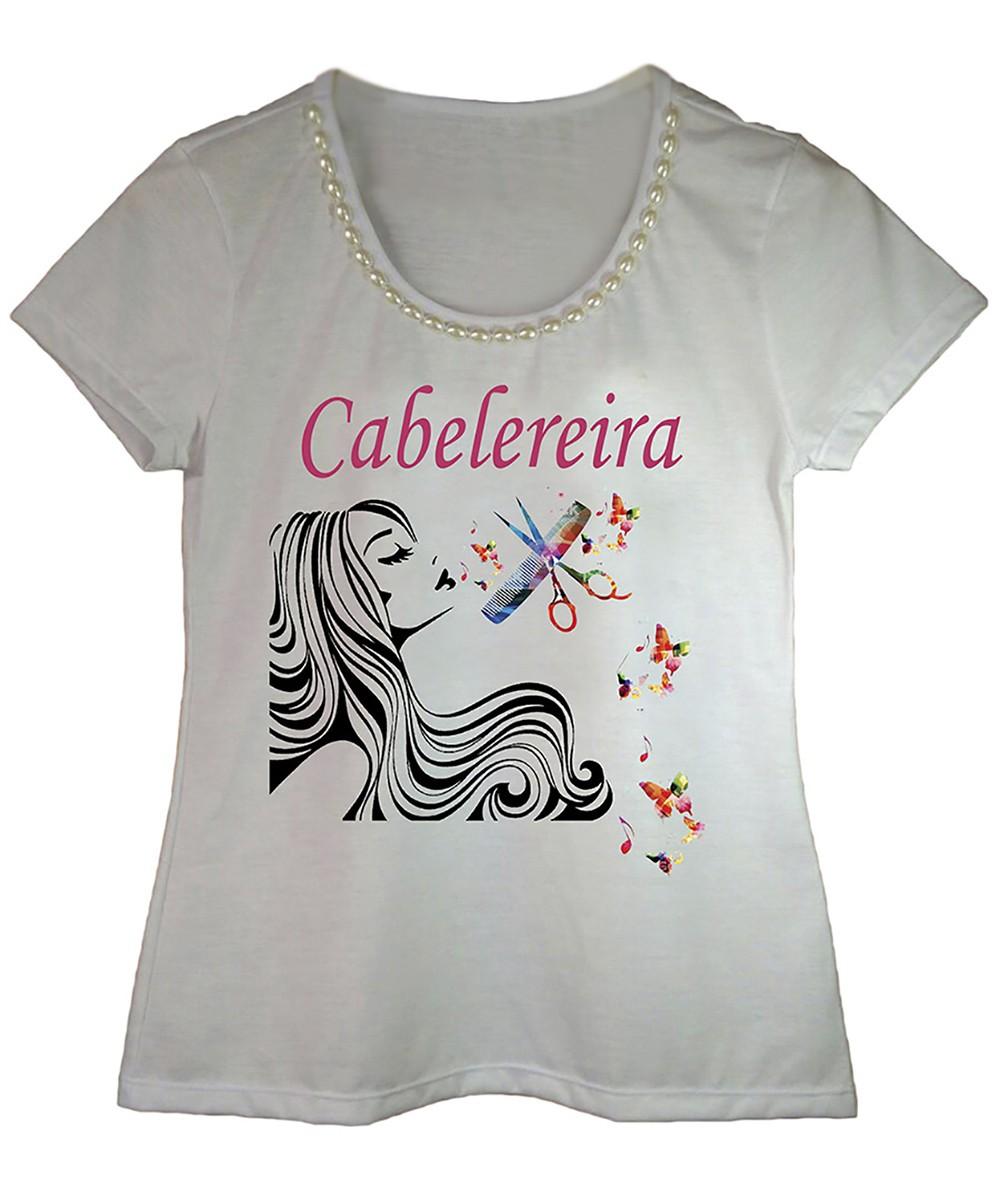 Camiseta adulta feminina bordada estampa cabeleireira