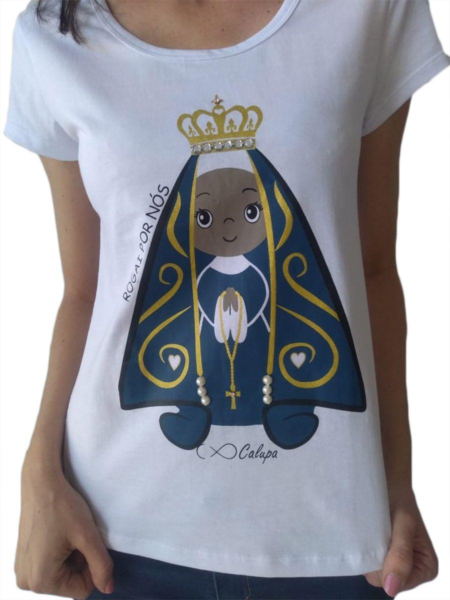 Camiseta adulta feminina e body de bebê santa nossa senhora aparecida