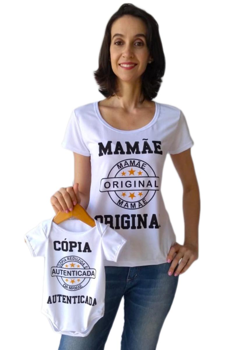 Camiseta adulta feminina e body de bebê Tal mãe tal filho