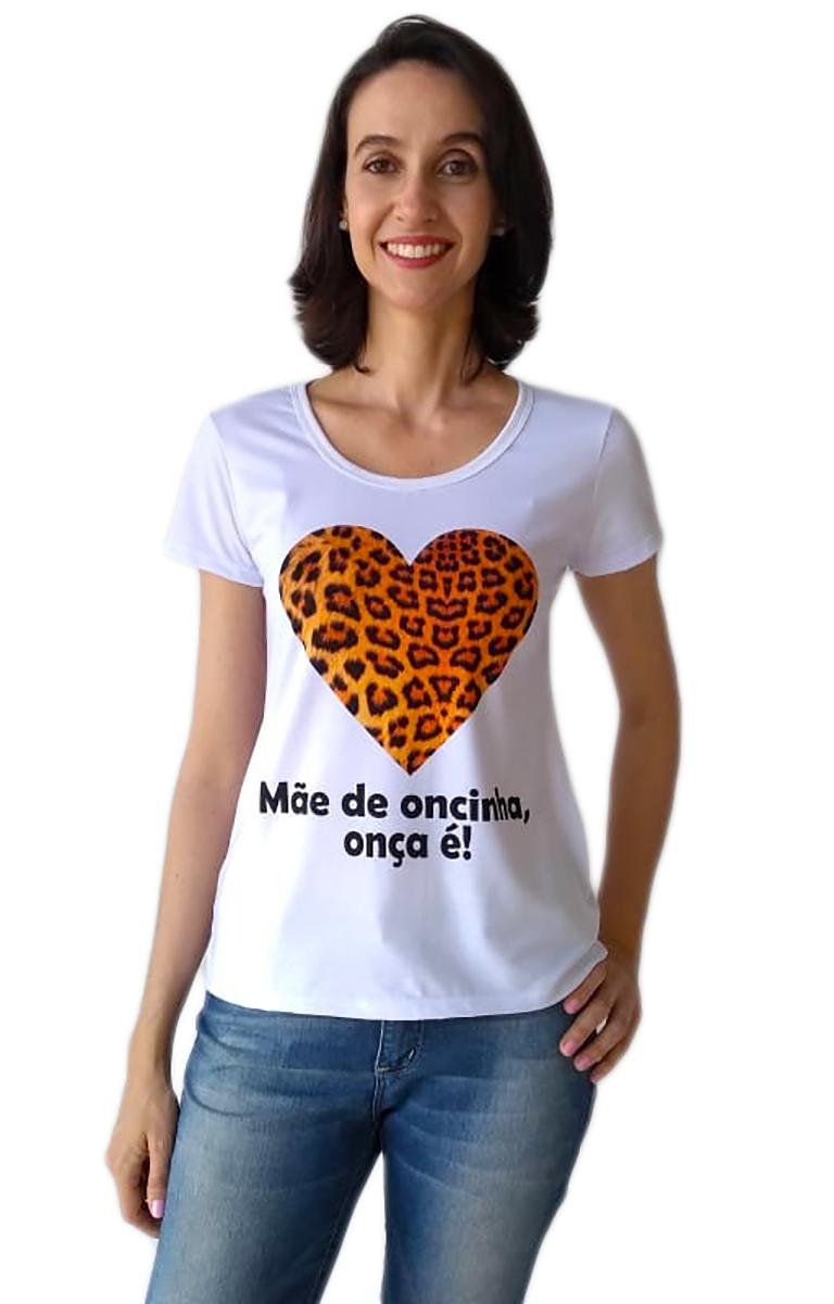 Camiseta adulta mãe de oncinha e body de bebê filha de onça mãe e filha
