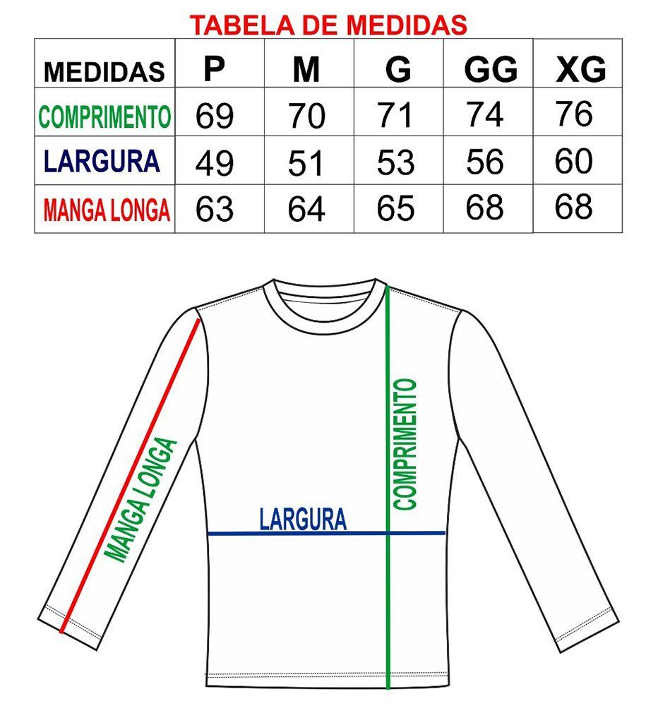 Camiseta adulta masculina manga longa proteção solar Uv50 lisa