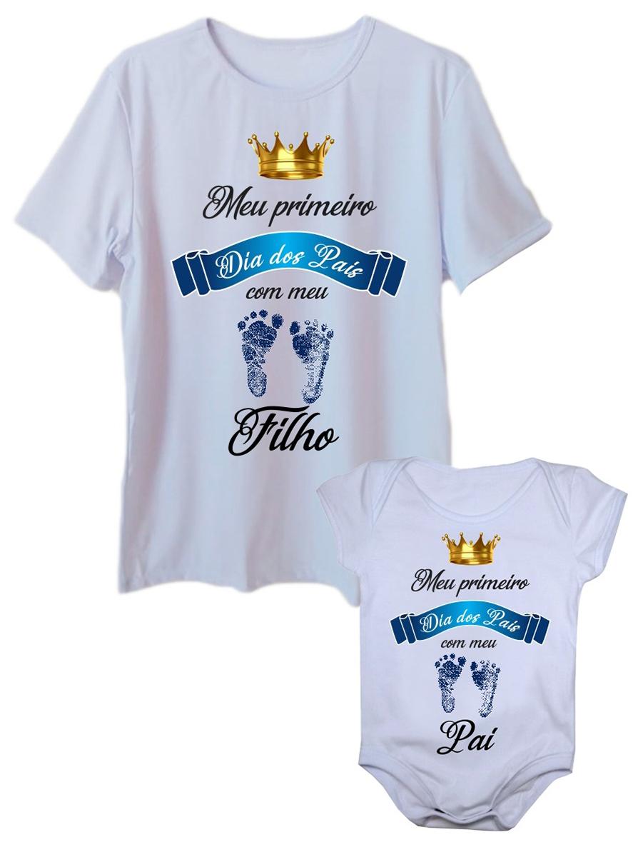 Camiseta adulta primeiro dia dos pais com body de bebê pezinho azul