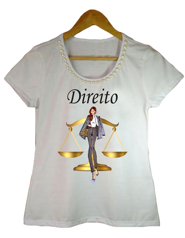 Camiseta Feminina Bordada Direito T-shirt curso