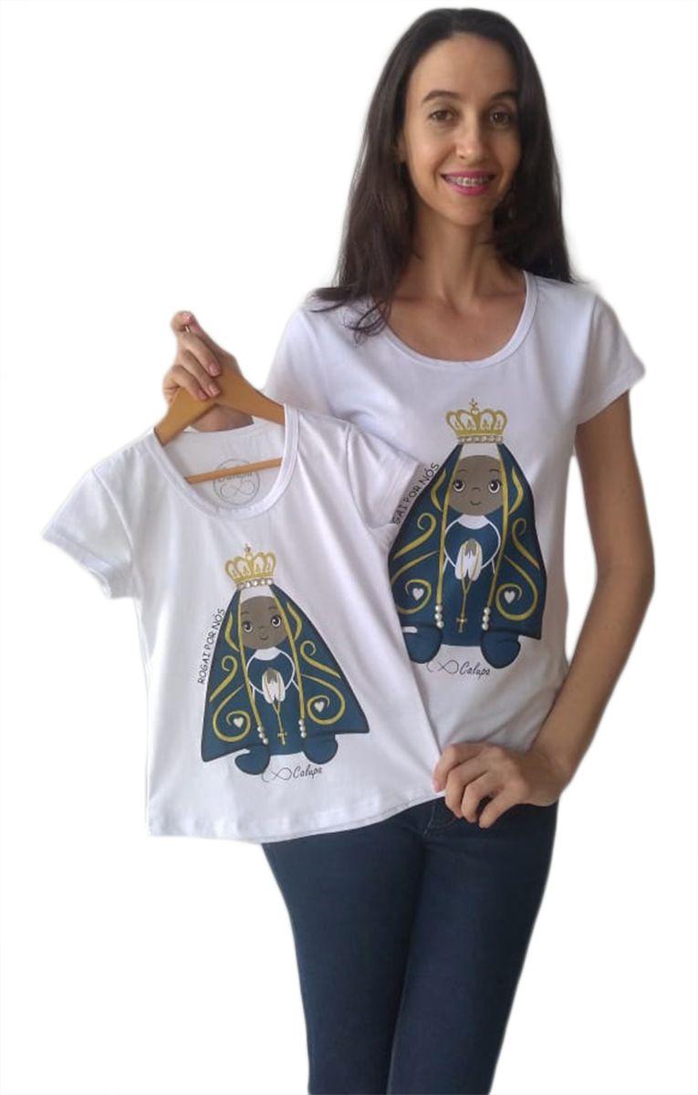Camiseta t-shirt adulta e infantil femininas santa nossa senhora aparecida mãe e filha