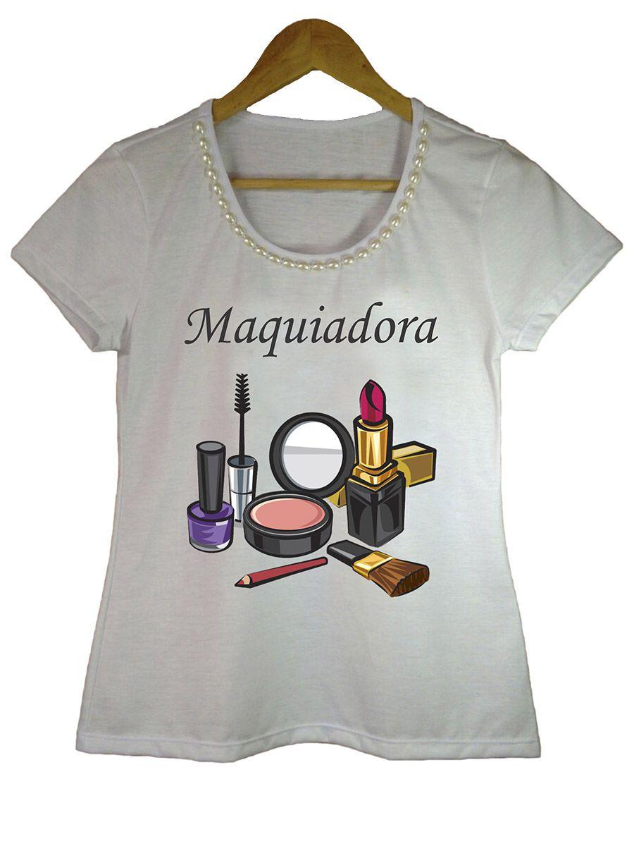 Camiseta t-shirt adulta feminina bordada maquiadora