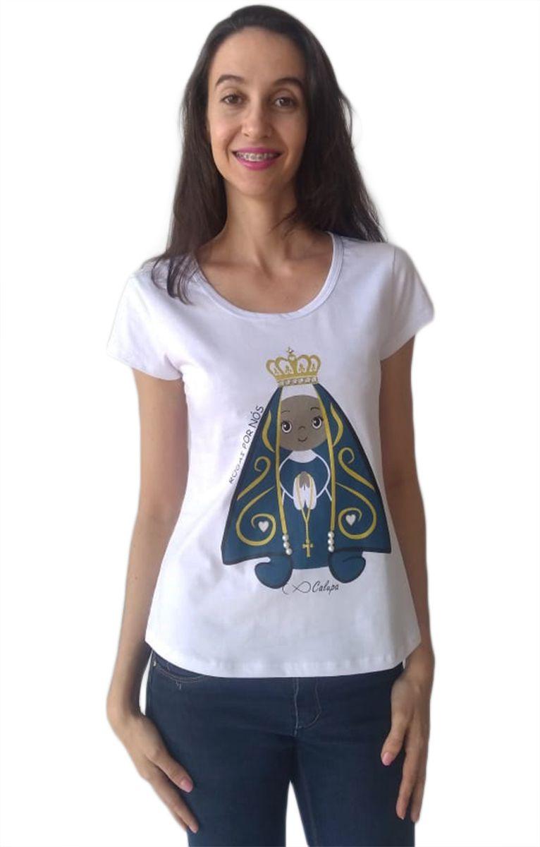 Camiseta t-shirt adulta feminina santa nossa senhora aparecida