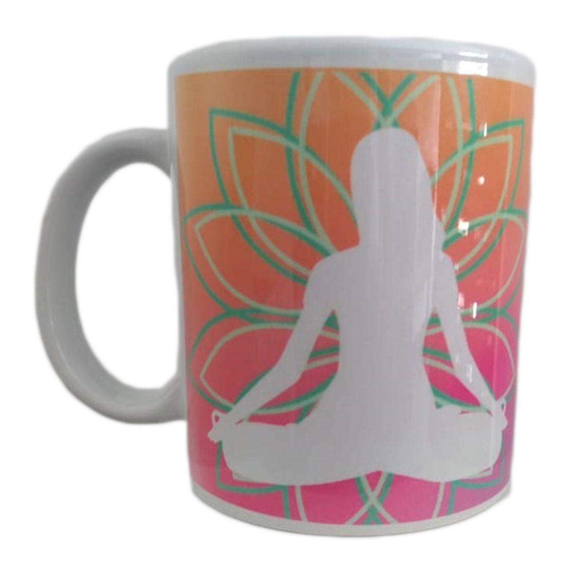 Caneca de porcelana Yoga Inspira Respira Não Pira + Caixinha
